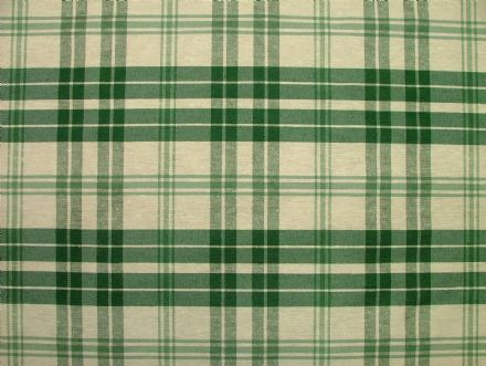Prestigious Textiles Bottle Green / Cream Check  Curtain / Soft Furnishing Fabric